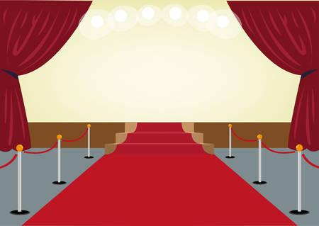 赤カーテン フレームとステージに向かってレッド カーペット。編集可能なクリップアートです。