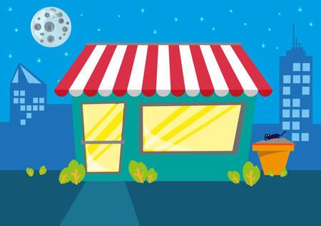 store: Un negozio o ristorante di notte in città. Clip Art modificabile.