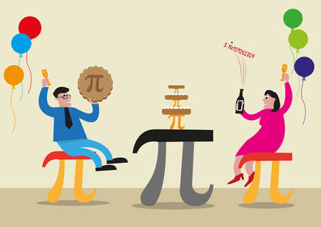 Happy Pi Day concept. People celebrates Pi Day with objects made of Pi Greek Letter symbol. Editable Clip Art.