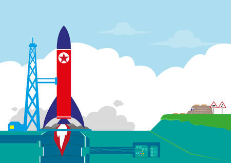 North Korea or NoKor tests its Ballistic Missile or Rocket Orbit Satellite concept. Editable Clip Art.