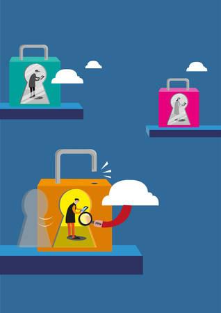 보안 및 개인 정보 보호 개념. 보호 및 감시 또는 해커로부터 보호되지 않은 인터넷 사용자. 편집 가능한 클립 아트.