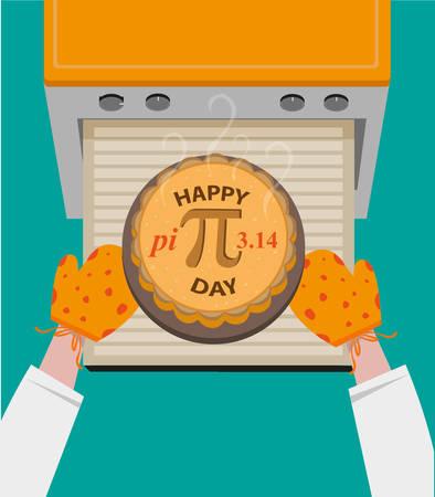 De gelukkige Dag van Pi-concept waargenomen ieder jaar in maart 14. Gebakken Taart met Pi Symbol genomen uit oven. Bewerkbare Clip art.
