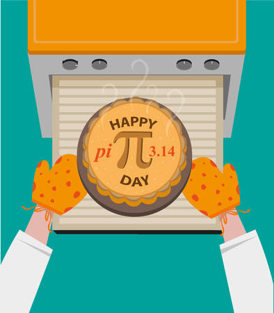 oven: Happy Pi Day concept observed every March 14. Baked Pie with Pi Symbol taken out from oven. Editable Clip art.