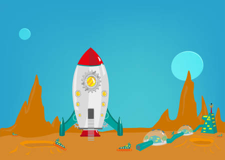 space station: Mission to another planet like mars with a small colony of men from earth. Editable Clip art.