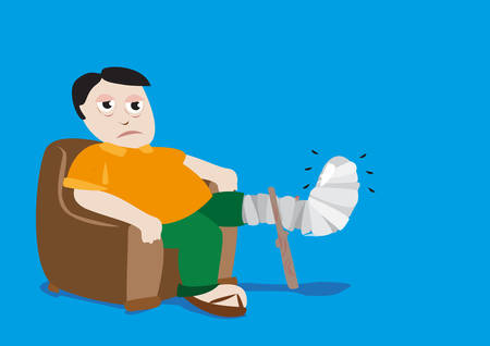 casts: Cartoon artwork of a man with a plastic cast due to injury. Editable Clip Art.