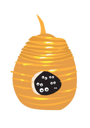 Natural Beehive or Wasp Nest with eyes inside looking out. Editable Clip Art. Иллюстрация