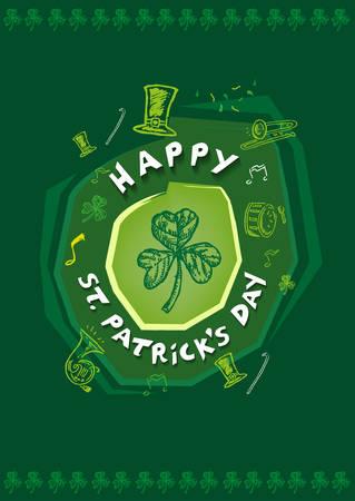 Happy St Patricks Day Festivity Design Concept. Editable Clip Art. Иллюстрация