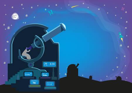 metodo cientifico: Un hombre en el interior de un observatorio con un Grandes telescopios y de laboratorio en busca de cuerpos celestes en el universo. Editable en Imágenes prediseñadas. Recorte de un laboratorio de observación con un telescopio muy grande el espacio Vectores