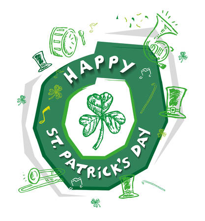 Happy St Patricks Day Design Concept with outline art of objects used in the annual parade like musical instruments and green hat.