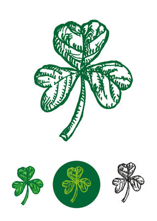 Sketch doodle artwork of the Shamrock leaf used as a symbol in St Patricks Day. Editable Clip Art.