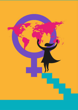 International Womens Day image or rights about women concept.  Editable Clip Art. A silhouette of a woman putting a map on the Venus gender symbol.