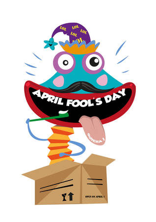 prankster: April Fools Day or All Fools Day text words as the Teeth Punchline of a Clown Toy Character Springing Up from a Box.
