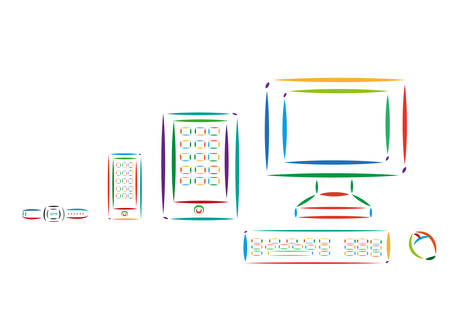 Multicolored style art of Different Modern Tech Devices Colorful Line Art. Editable Clip Art.