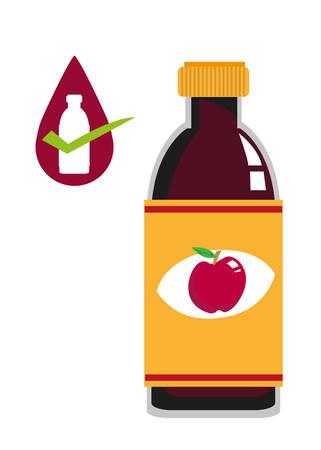 salad dressing: Flat Art of Apple Cider Vinegar Bottle Concept. Editable Clip Art.