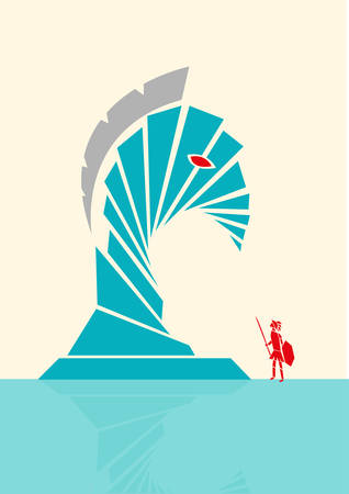 the trojan: Trojan Horse Abstract Illustration Concept. Editable Clip art.
