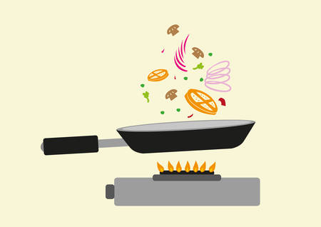 fine dining: Frying Pan in Action with a Gas Oven. Editable Clip Art.