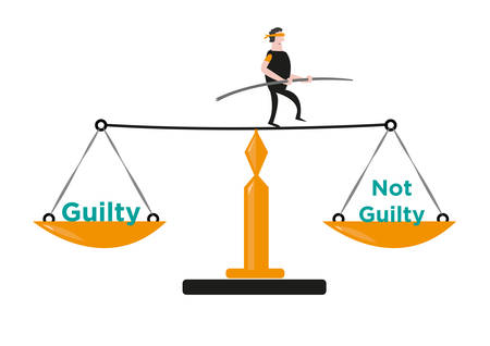 A Man in Balances Himself in a Justice Scale. Editable Clip Art.