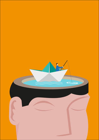 memorize: A Fisherman Riding a Paperboat Floats on a Head Made of a Lake. Editable Clip Art.
