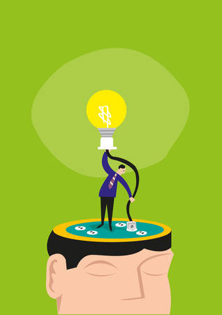 manually: A Man Manually Connects a Wire on a Head to Light up a Bulb. Editable Clip Art.