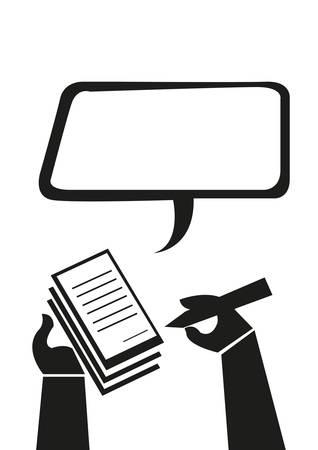Main Prendre des notes ou écrit un concept Ticket de violation. Éditable Clip Art. Vecteurs