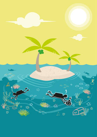 Diving lessons or underwater exploration in a coral rich island. Editable Clip Art. Ilustrace