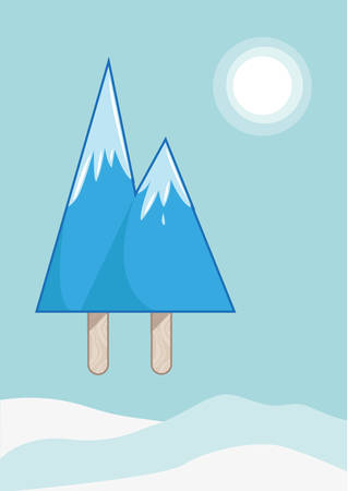 swiss alps: Mountain Peaks made of icy pop or ice block. Editable Clip Art.