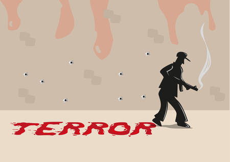 genocide: A Shooter with Terror Typography made of Blood Smears. Editable Clip Art.