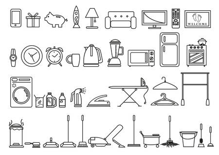 drawing room: Set of Home and Lifestyle Tools and Objects in Outline Art Style. Editable Clip Art.