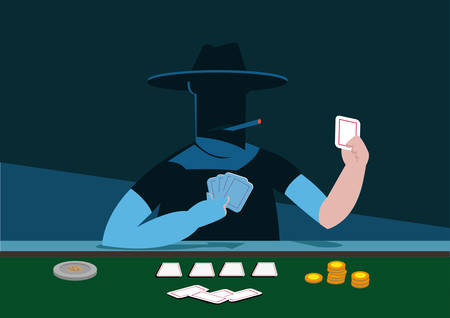 A Mystery Player of Poker or any Card Game. Editable Clip Art.