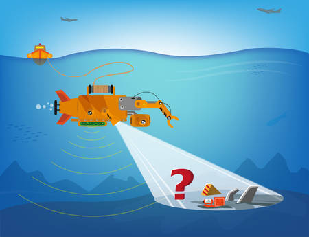 oceanography: A remote controlled robot searching underwater for debris of planes, ships or more. Editable Clip Art. Illustration