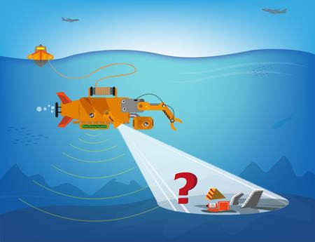 Een op afstand bestuurbare robot zoeken onder water voor puin van vliegtuigen, schepen of meer. Bewerkbare Clip Art.