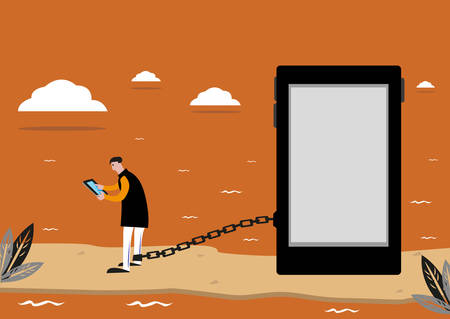 waiting convict: A Person Addicted to Social Media is like an Man Stranded or Imprisoned  in an Isolated Island. Editable Clip Art. Illustration
