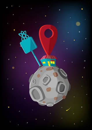 Location Icon on a Restaurant Drive Thru, Hypermall or Convenience Store in the Space and Moon. Editable Clip Art.
