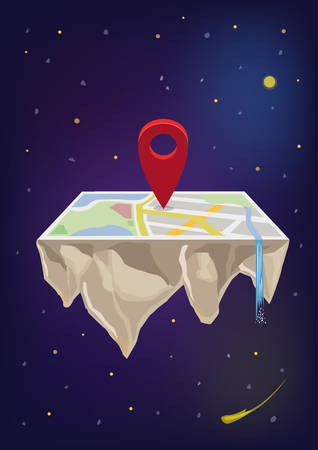 Concept of a Map app as a Flat Earth with Location symbol