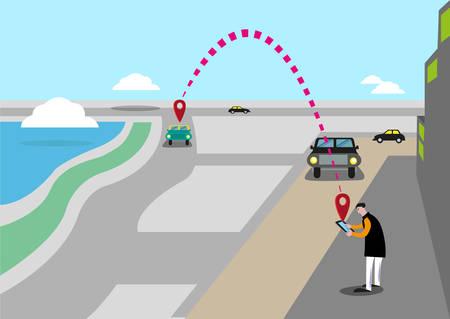 모바일 요청 자동차 서비스는 함께 타기 또는 Ridesourcing 개념이라고합니다. 남자는 택시 나 타고 집으로 가져 터치 스크린 장치를 사용합니다. 편집 가 일러스트