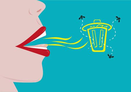olfato: Persona con un mal aliento representada por un cubo de basura con moscas. Editable en Imágenes prediseñadas. Vectores