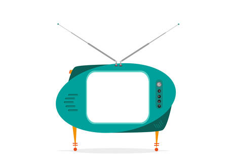 Isolated Retro TV Green with empty space. Editable Clip Art.