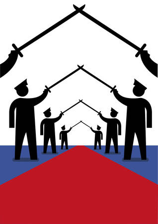 sword silhouette: Military officers in a  Saber Arch position for welcoming march. Editorial Clip Art.