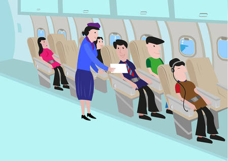 Flight Attendant Talks to a Passenger in an Aisle. Editable Clip Art.