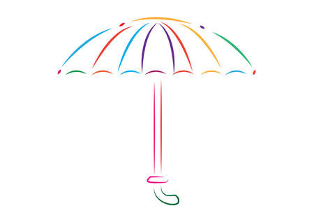 Umbrella Line Art. Editable Clip Art. Unique Colorful Umbrella Line art isolated on white background.