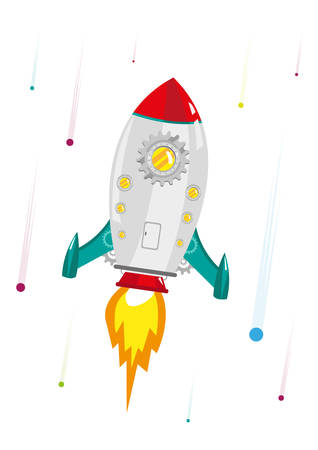 Rocketship Gear hyperspeed burst up to the galaxy . Editable Clip Art.