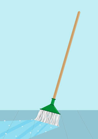 Mop cleaning a floor concept. Editable Clip Art. A floor shines when a liquid cleaning agents and a yarn mop passes through.