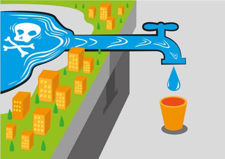 contaminacion del agua: Una comunidad recibe agua de una fuente contaminada como el plomo, que es mortal. Vectores