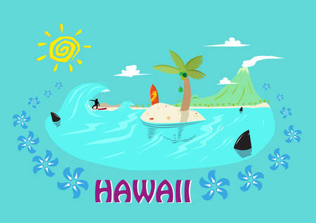 oahu: Hawaii Islands and Surfing Concept. Editable Clip Art.