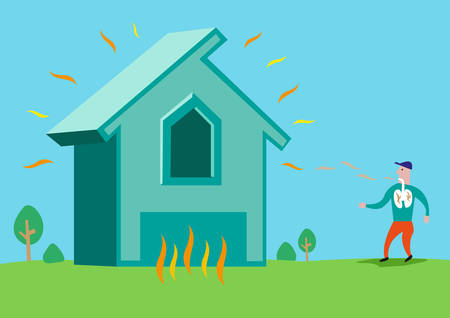 radon: House in flames or with Asbestos or Radon Radiation. Editable Clip Art.