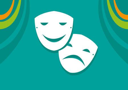 演技または演劇芸術の悲しみと幸福のシンボル  イラスト・ベクター素材