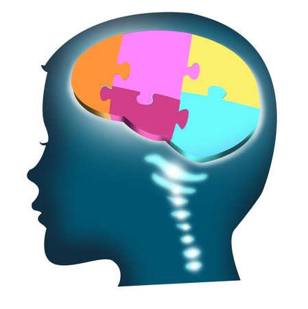 성장과 발전 개념 퍼즐과 아이의 머리의 그림.