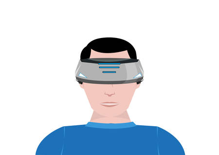 A Person Uses a Virtual Reality device for 360 video gaming. Editable Clip Art.