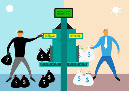 Money Laundering or Bank Illegal Activities concept. Editable Clip Art. Illustration