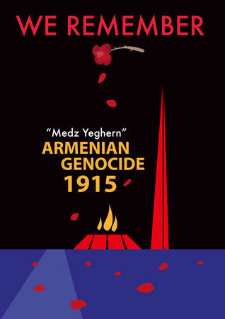 Armenian Genocide Memorial concept. Rose petals falls over the Armenian Genocide Memorial grounds in Yerevan, Armenia to commemorate its annual anniversary of the historical massacre called Medz Yeghern.